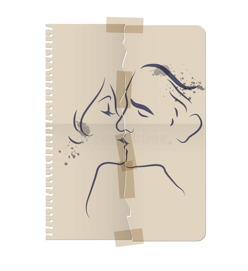 Drawing of a couple kissing on a sheet of torn paper and taped with tape. Vector Illustration stock illustration
