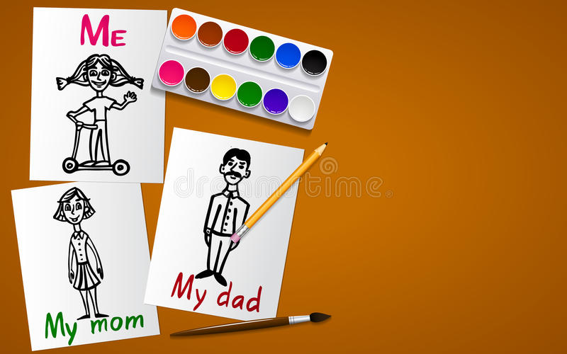 Drawing and creativity. My family. Father, mother and me. Drawings on paper. Tools for drawing. Working plane and background. Vect stock illustration