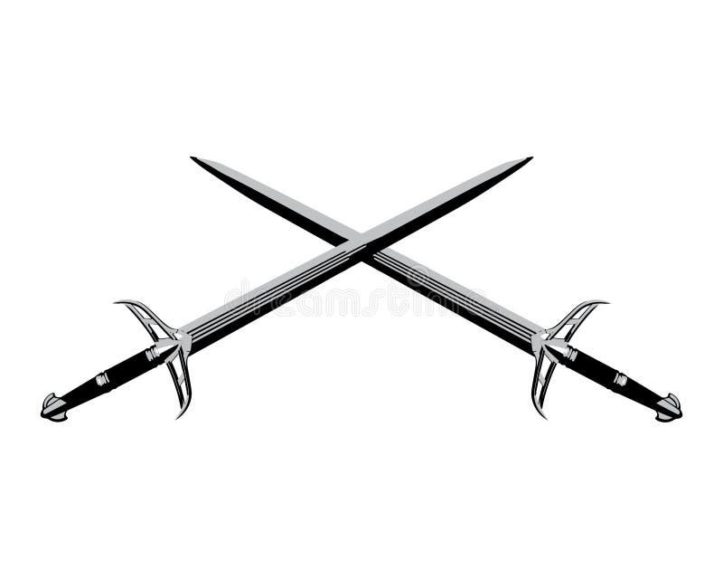 Cross knight swords royalty free illustration