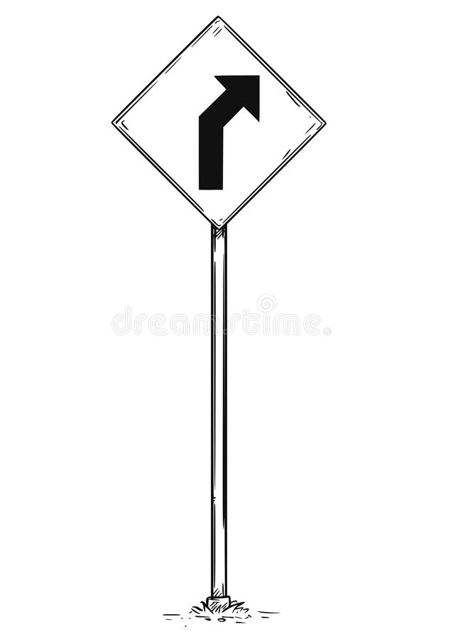 Drawing of Curved Road Arrow Traffic Sign royalty free illustration