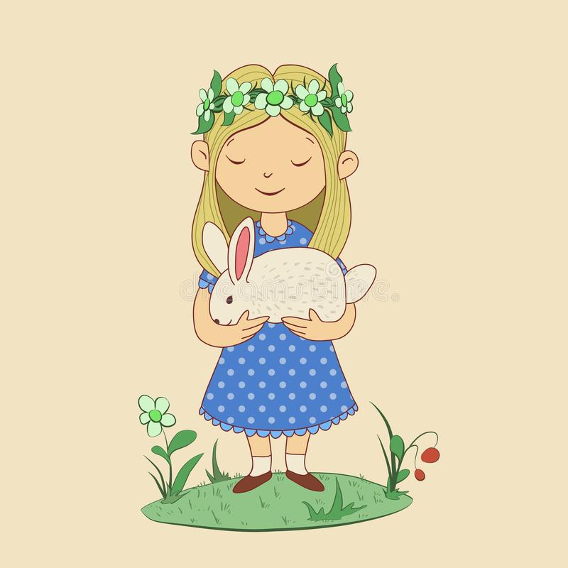 Drawing of cute girl with rabbit in her hands. Happy Easter. Funny character vector illustration on beige background. stock illustration