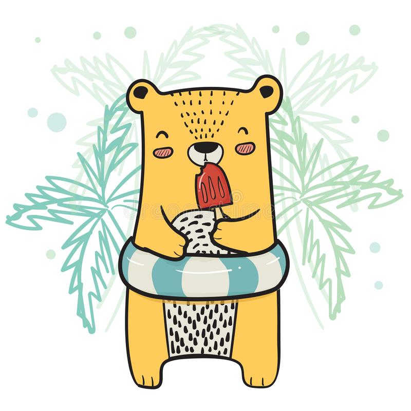 drawing cute yellow bear with life ring having strawberry Popsicle Ice cream in Summer time stock illustration