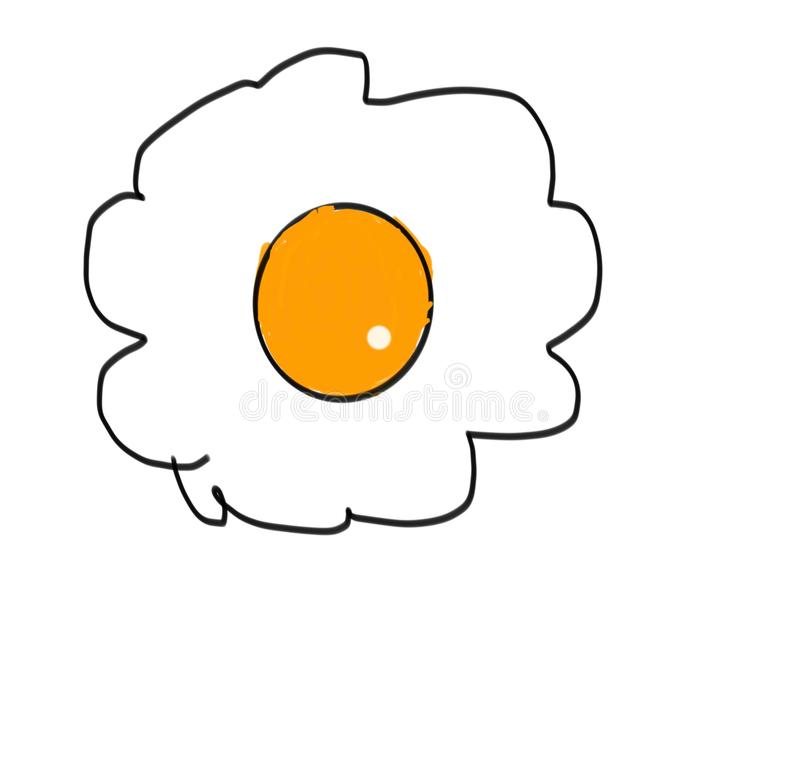 Drawing a delicious fried egg on a white background vector illustration