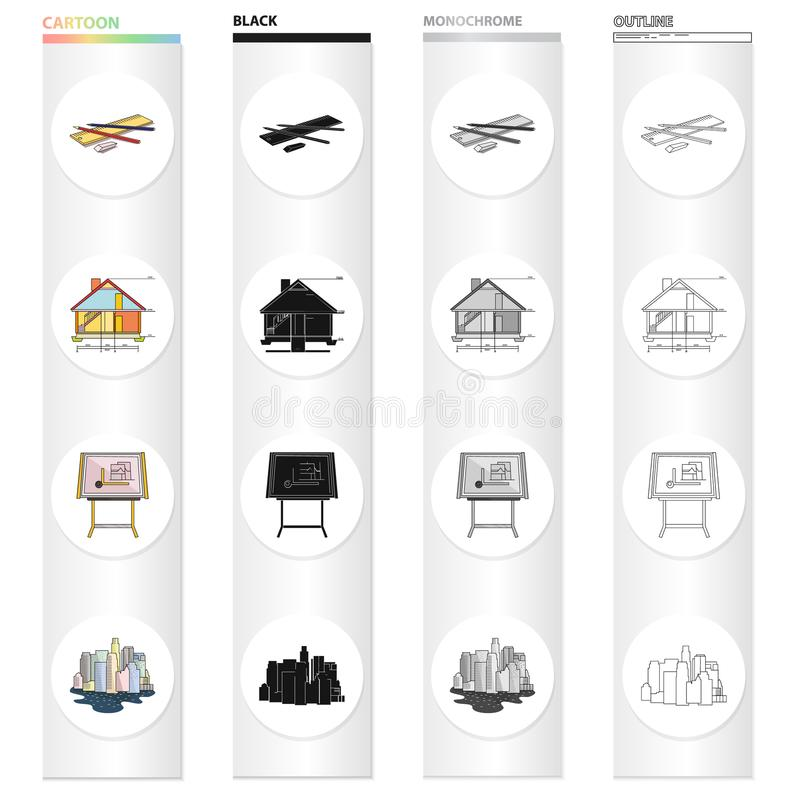 Drawing device, Kuhlman, city architecture, sketch of house, drawing accessories. Architecture set collection icons in. Cartoon black monochrome outline style stock illustration