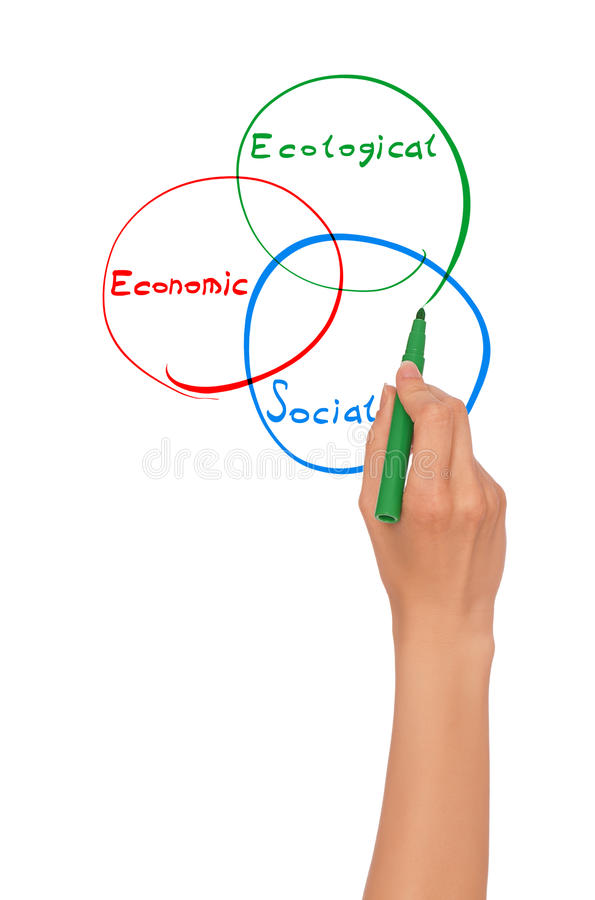 Drawing diagram. Businesswoman drawing diagram with green felt-tip pen at working place stock image
