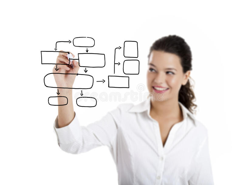 Drawing a diagram. Young businesswoman drawing a diagram isolated on white background