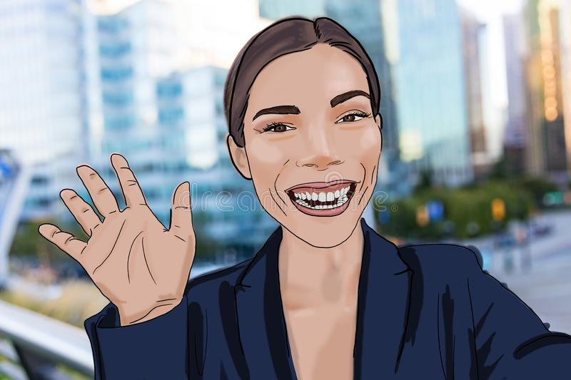 Drawing digital illustration of business woman saying hello to video camera taking selfie photo with smart phone app. Young stock illustration