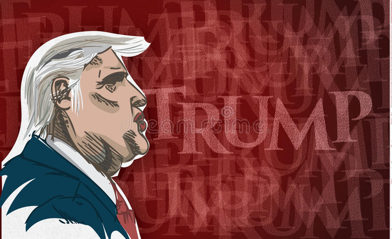 Drawing of Donald Trump. Caricature drawing of Donald Trump with the word Trump in the background. American Republican presidential candidate stock illustration