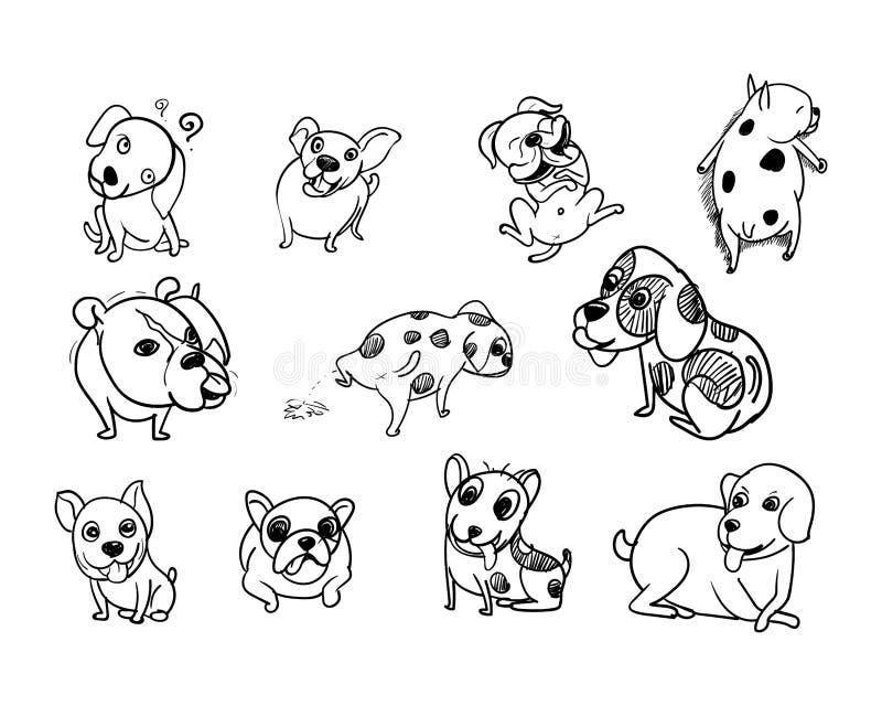 Drawing doodle set of dog royalty free illustration