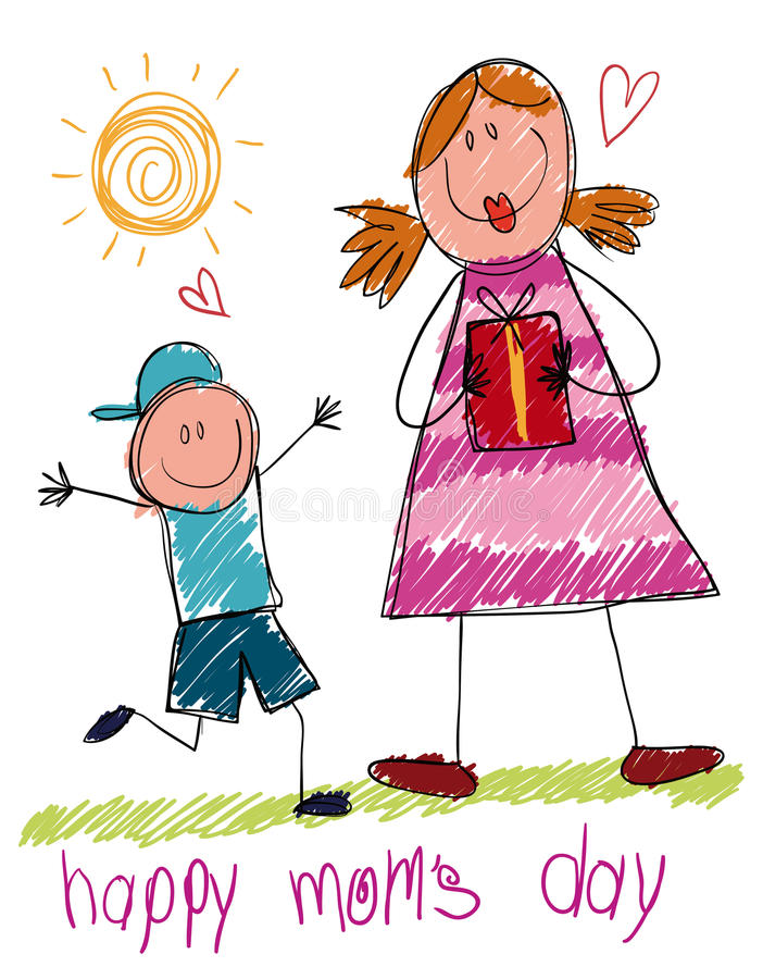 Drawing in Doodle Style Made by a Child for Mother's Day, Vector Illustration vector illustration
