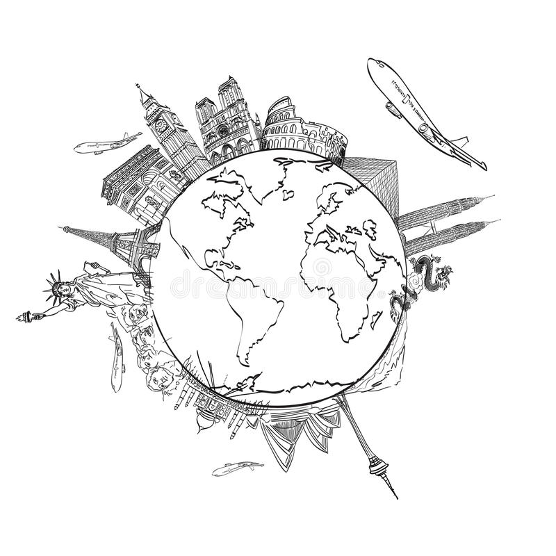 drawing the dream travel around the world stock image