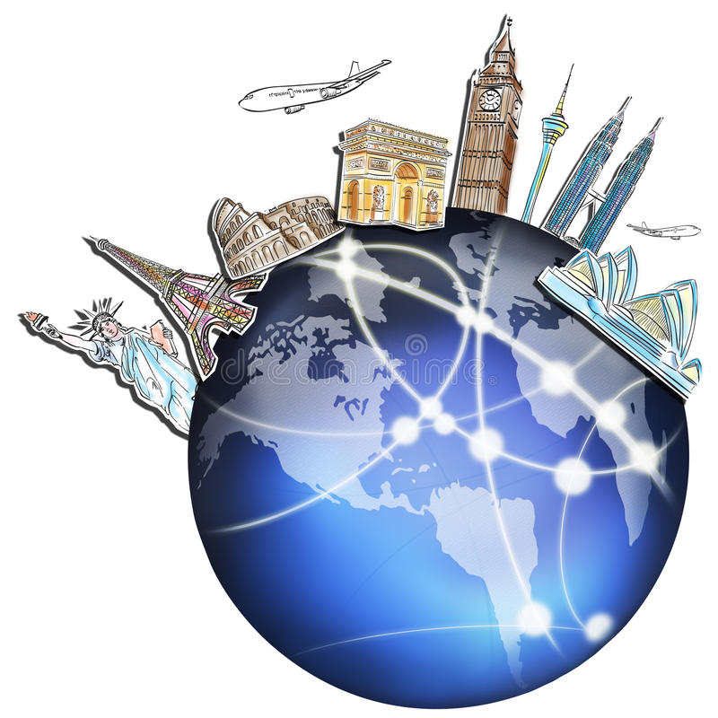 Drawing the dream travel around the world royalty free illustration