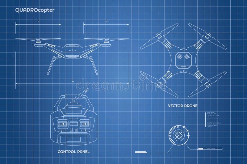 Drawing of drone. Industrial blueprint The control panel of quadrocopter . Front, top view vector illustration