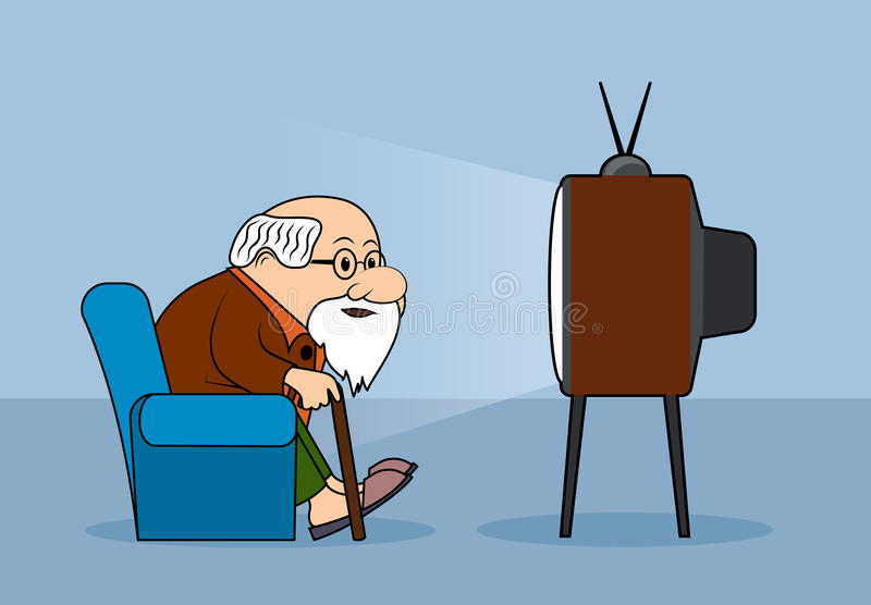 Drawing the elderly person watches television. On the image presented Drawing the elderly person watches television vector illustration