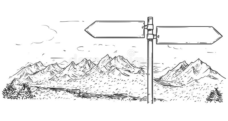 Drawing of Empty Blank Traffic Road Sign on Mountain Background. Vector cartoon drawing of empty blank road traffic sign in mountain area stock illustration