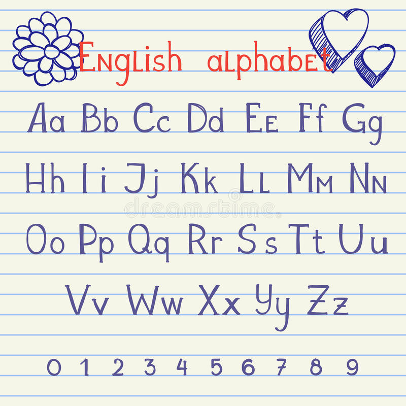 Drawing English Alphabet Stock Images