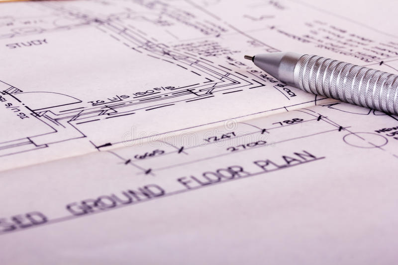Drawing equipment with detailed architects house plans royalty free stock images
