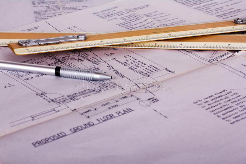 Drawing Equipment With Detailed Architects House Plans Stock Image ...