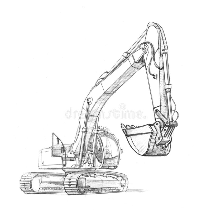 Drawing excavator. Illustration of an excavator, in pencil. black-and-white vector illustration