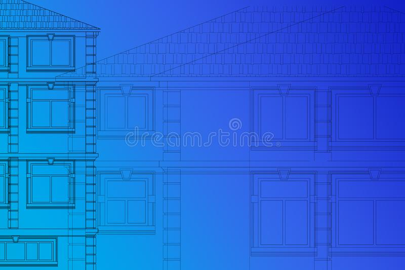 Drawing of the facades of the houses on a blue background stock photos