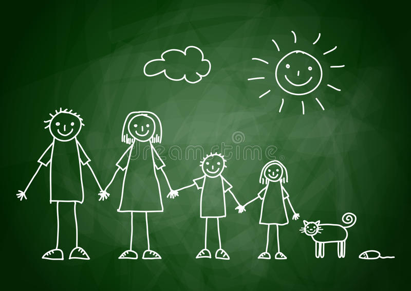 Drawing of family royalty free illustration