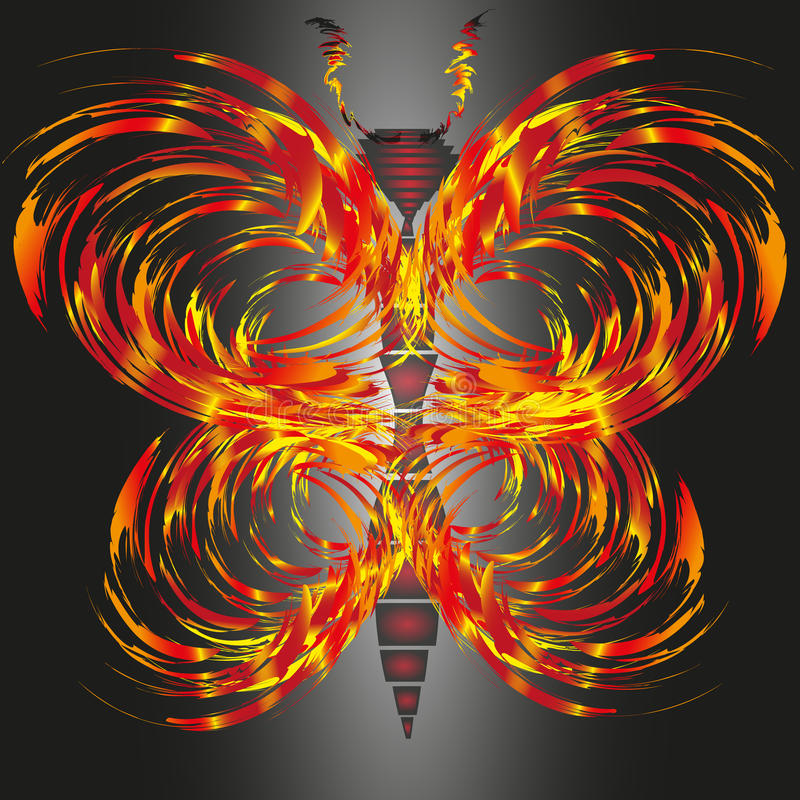 Drawing fiery butterfly vector illustration