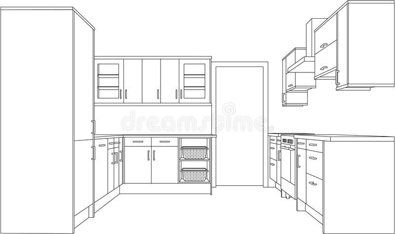 Line Art Floors : Drawing of a fitted kitchen stock vector illustration