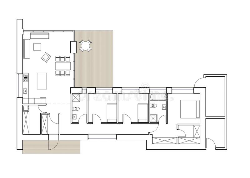 Drawing - floor plan of the single family house. Architectural drawing. Ground floor plan of the modern single family house. Big living room, tree bedrooms vector illustration