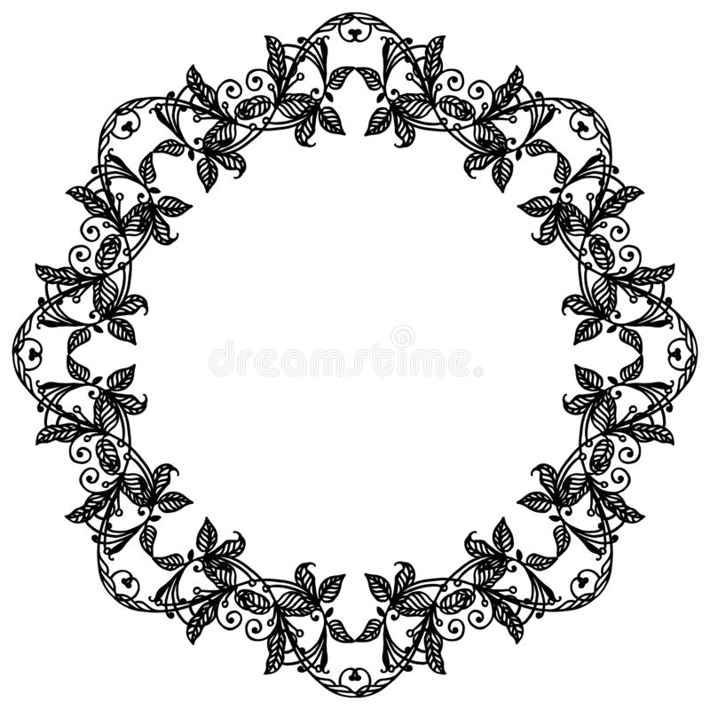 Drawing of flower frame beautiful, for poster or banner. Vector royalty free illustration