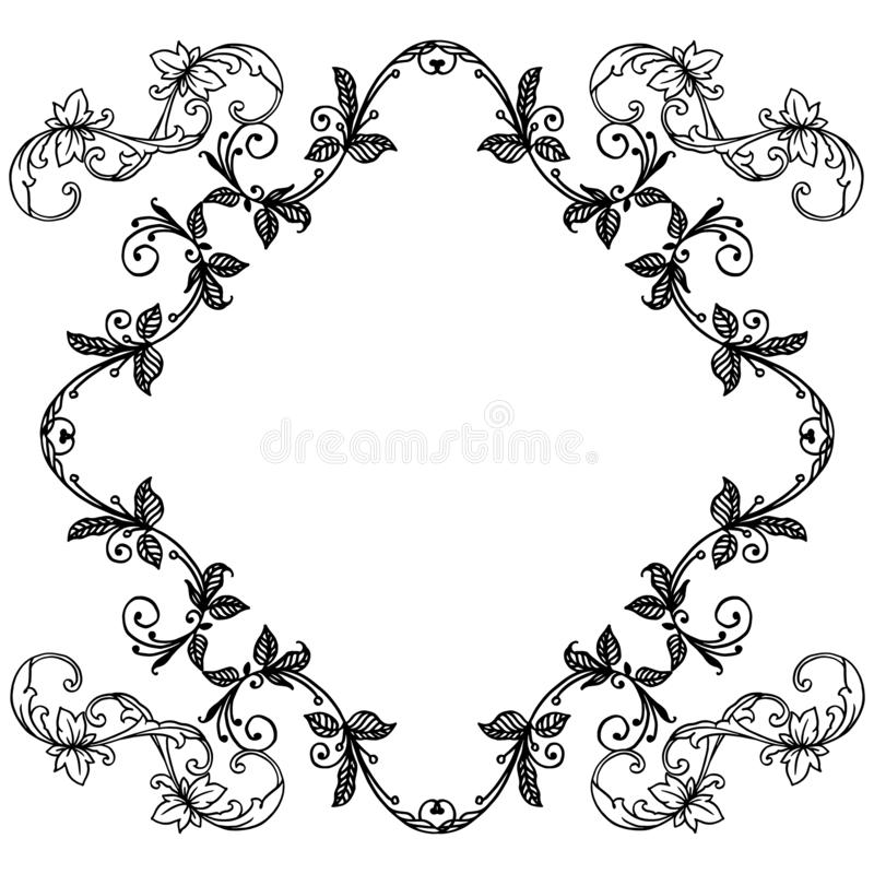 Drawing of flower frame beautiful, for poster or banner. Vector vector illustration