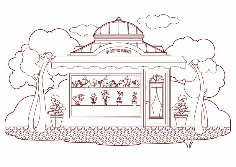 Drawing of a Flowers kiosk stock illustration