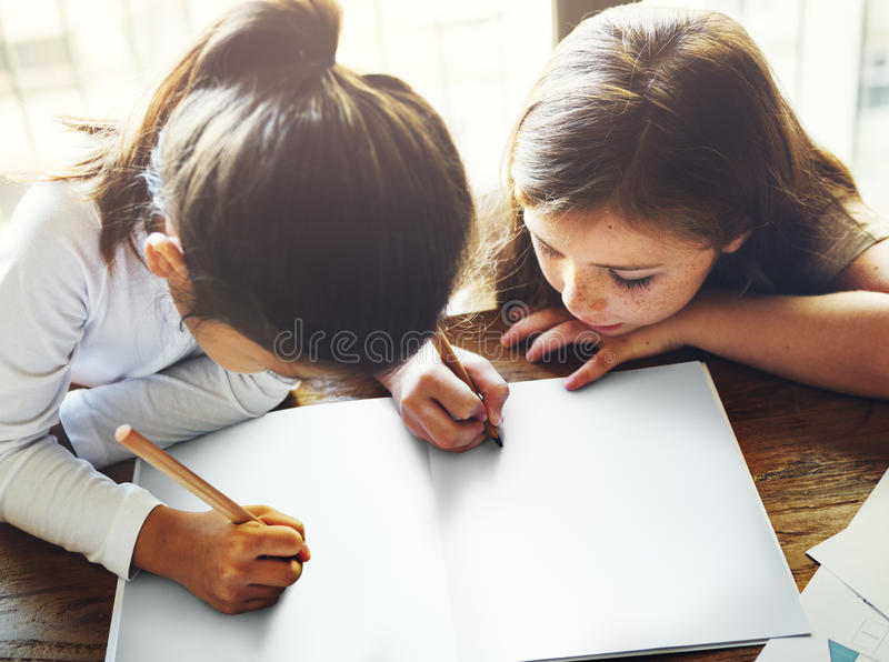 Drawing Friendship Ideas Imagination Creative Concept stock photography