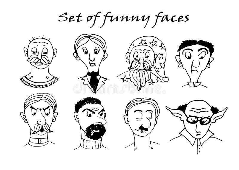 Drawing funny character portraits contour doodle sketch comic illustration royalty free illustration