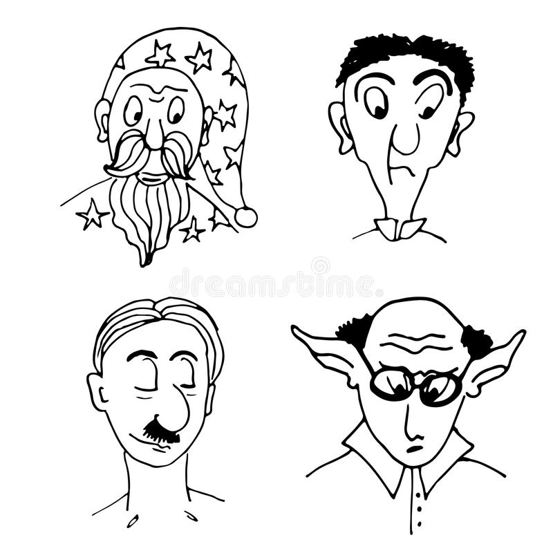 Drawing funny character portraits sketch comic illustration royalty free illustration