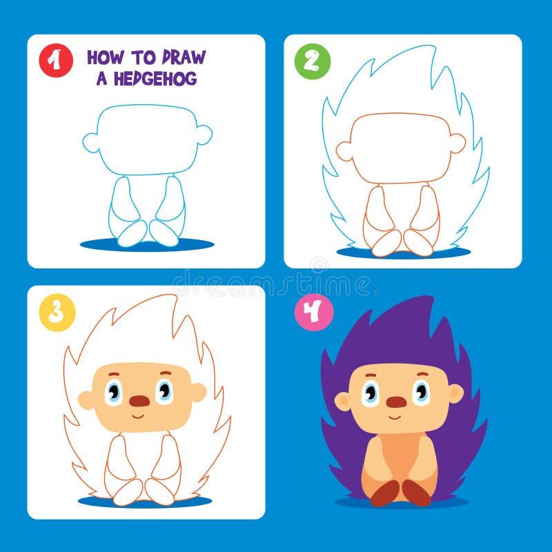 Drawing Game Step Tutorial Hedgehog Worksheet Cartoon Vector royalty free illustration