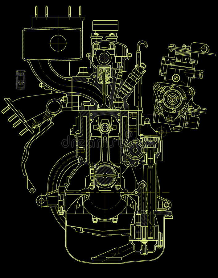 Download Drawing Of Gasoline Engine Royalty Free Stock Image - Image: 14490146