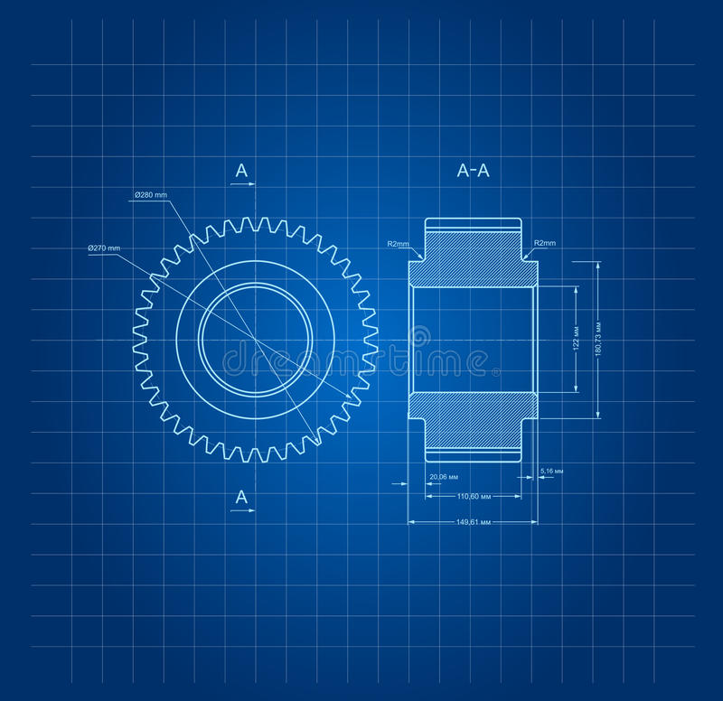 Drawing gears on blue background . royalty free illustration