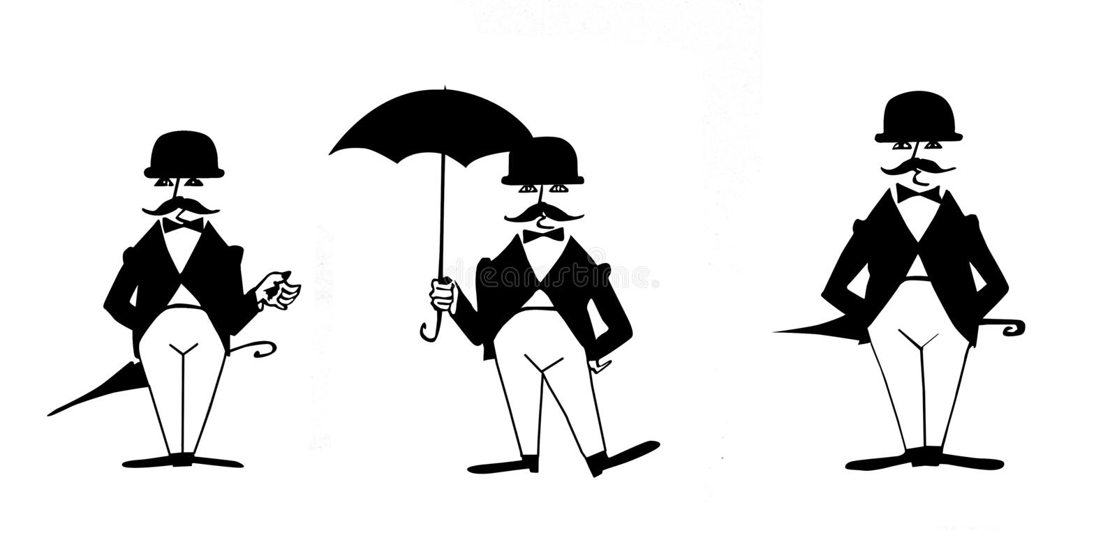 Drawing of the gentleman royalty free illustration