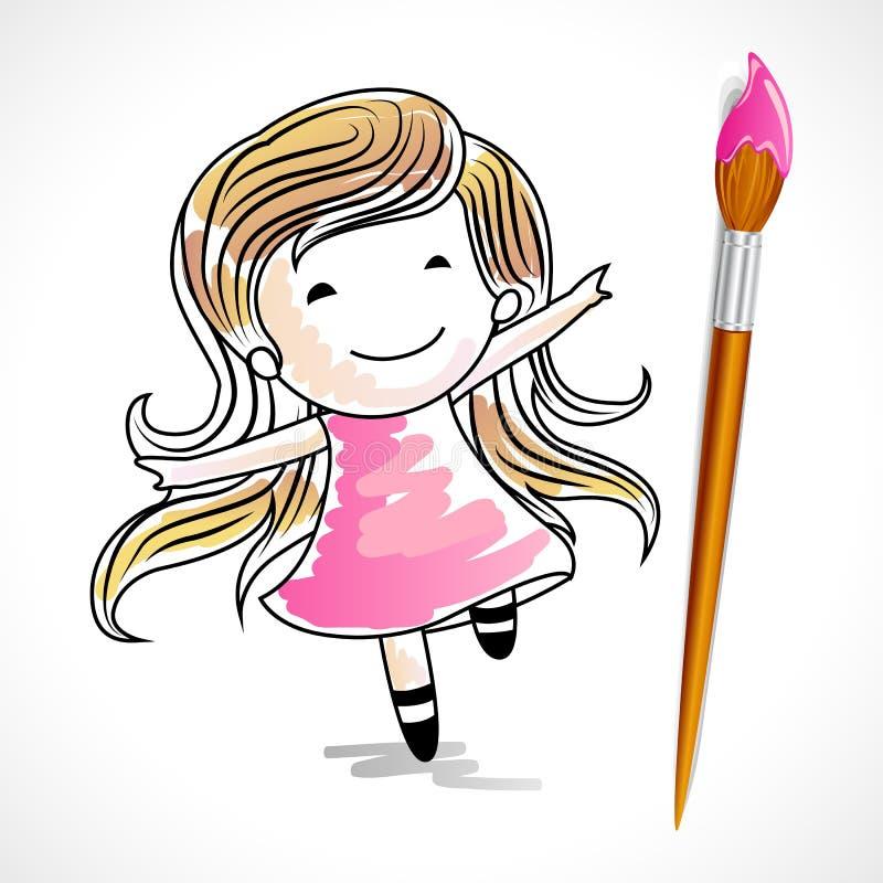 Download Drawing of Girl stock vector. Illustration of preschool - 25738650