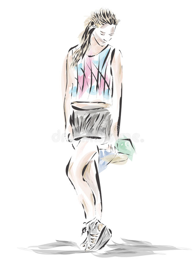 Drawing girl fashion style.Vector stock photo
