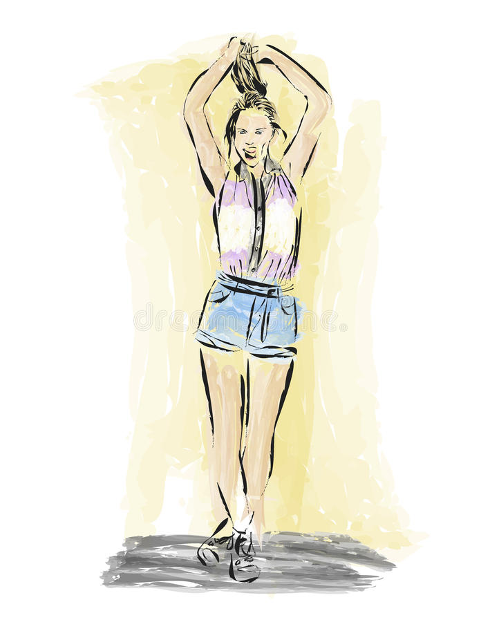 Drawing girl fashion style.Vector royalty free stock photo