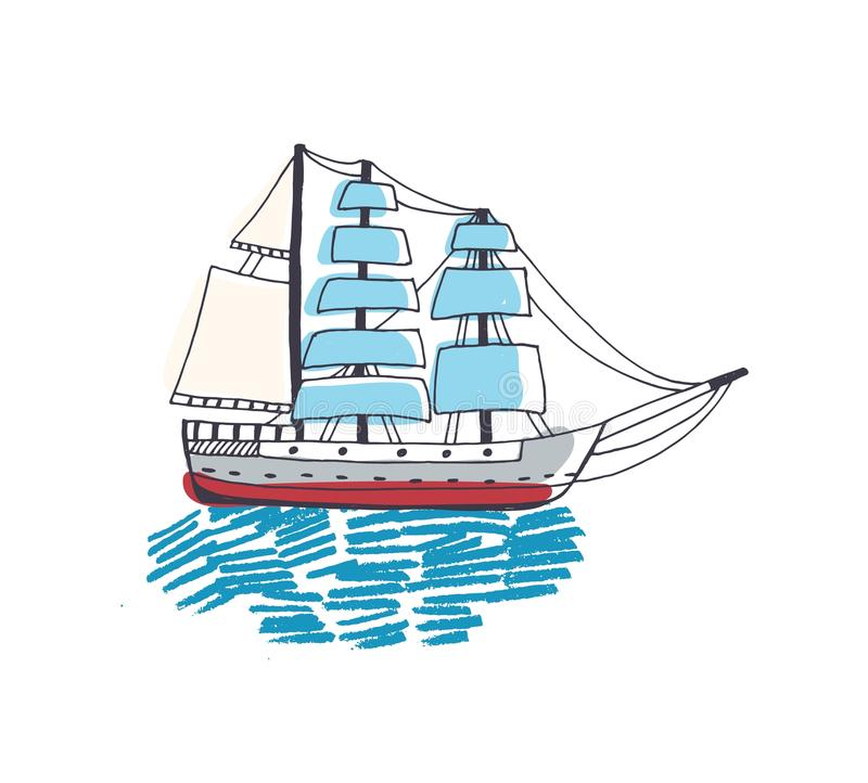 Drawing of gorgeous ship, sailing boat, frigate or caravel with sail in ocean. Beautiful sailboat in sea journey or trip. Marine navigation. Colorful hand royalty free illustration