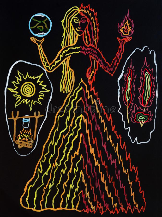 Drawing with gouache of a pagan deity. Black background. Abstract, schematic painting. Mystical symbolism. Spirit in the form of a slender woman. Lady with vector illustration