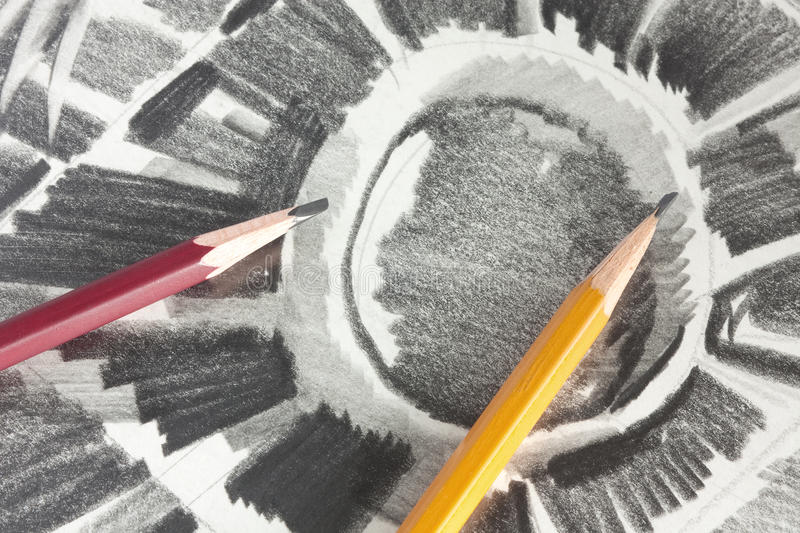 Drawing by graphite pencil. And two pencils royalty free stock images