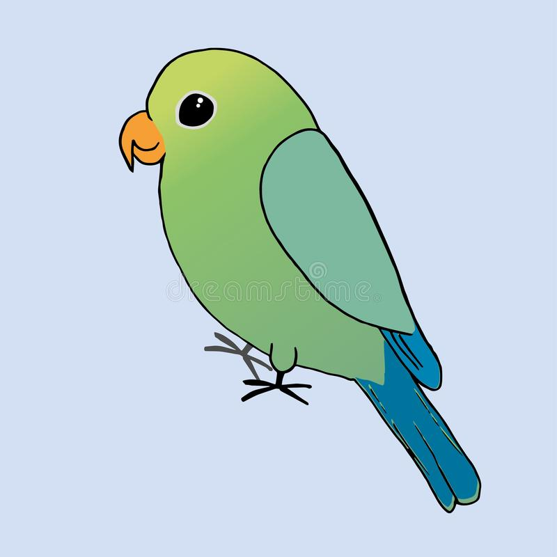 A drawing of a green parrot vector illustration