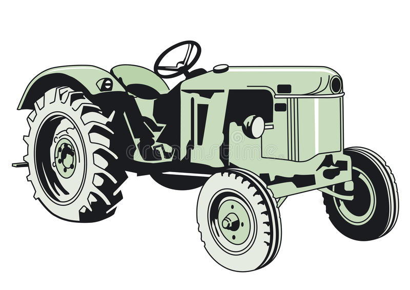 Download Drawing of a Green Tractor stock vector. Image of vehicle - 25391291