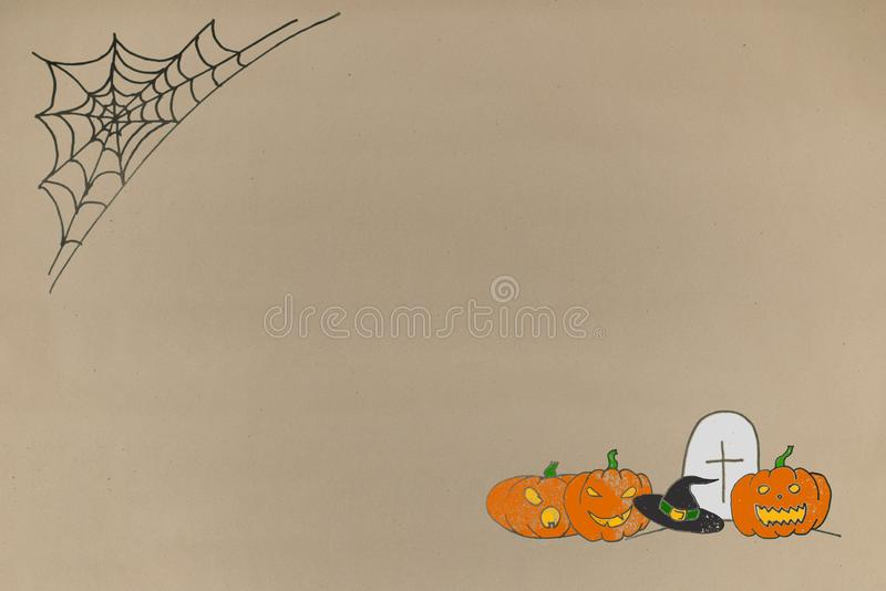Drawing greeting halloween background on paper crafts. greeting card and advertising space for text stock photos