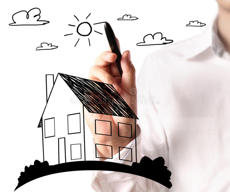 Drawing a growing real estate chart stock illustration
