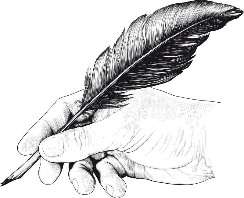 Drawing of hand with a feather pen vector illustration