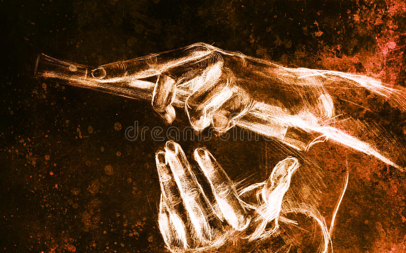 Drawing hand and flute, pencil sketch on paper, sepia and vintage effect. Drawing hand and flute, pencil sketch on paper, sepia and vintage effect royalty free stock photography
